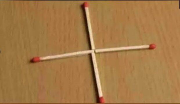 """""""Úkol je vhodný pouze pro pozorné"""": za podmínky, že musíte přesunout jednu sirku, abyste vytvořili čtverec"""