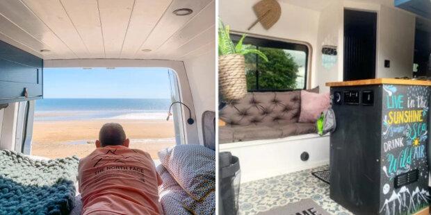 Manželé z Británie proměnili minibus v útulný dům na kolečkách: Jak vypadá kuchyně, ložnice a sprcha