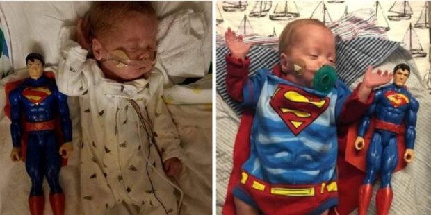 Rodičům chlapce, který se narodil ve velikosti postavy Supermana, bylo doporučeno, aby se připravovali na nejhorší, ale dítě přežilo