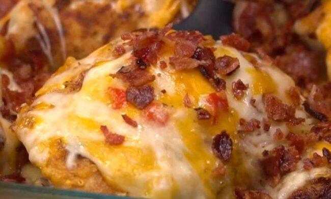 4 sýr a slanina kastrol