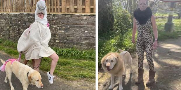 """Žena se při procházce se svým psem každý den obléká do různých kostýmů: """"její pes napsal, co si myslí o jejích kostýmech"""""""