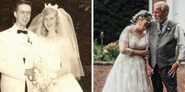 Zamilované páry zopakovaly svatební snímky po 50, 60 a dokonce 80 letech