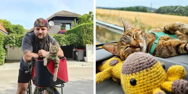 """""""Od svářeče k cestujícím"""": Kočka Nala dva roky cestuje se svým majitelem po světě na kole"""