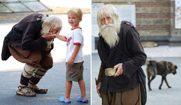 Srdce na správném místě: dědeček jménem Dobri líbá ruce dětem, žádá o almužnu a obětuje ji pro dobré skutky