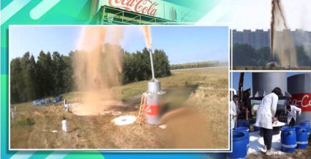 YouTuber smíchal 10 000 litrů Coca Coly a jedlé sody a udělal fontánu