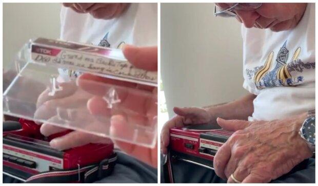 85letý muž našel audiokazetu. Foto: snímek obrazovky YouTube