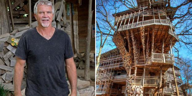 Dřevěný dům na stromech o 80 místnostech: jak se muži podařilo postavit desetipodlažní dům