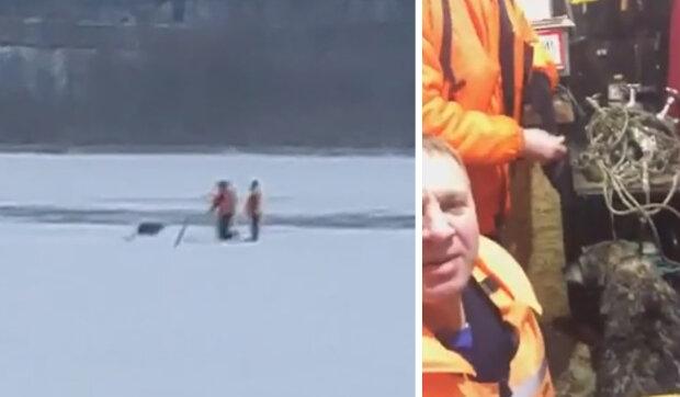 Záchrana na Silvestra: pes přivolal hasiče, aby pomohli psovi ve vodě spadlé pod led