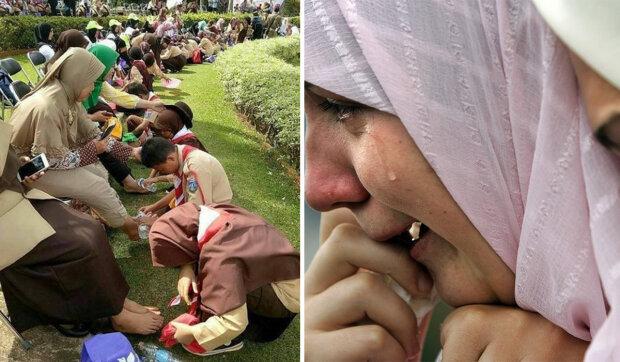 V jeden den všichni studenti Indonésie přicházejí s maminkami a umyjí jim nohy: jak krásná tradice zničila všechny pečovatelské domy v zemi