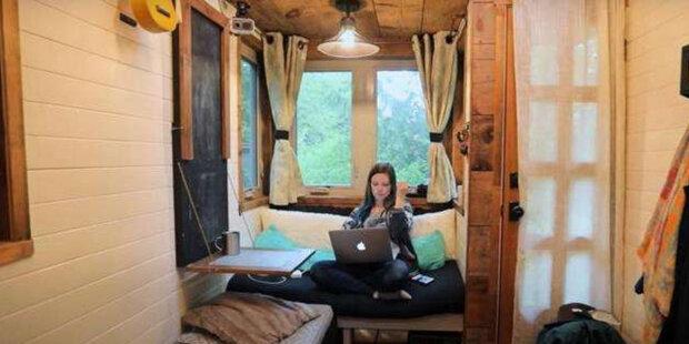 Žena vytvořila domácí pohodu v malém domku předělaném z přívěsu